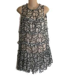 Thomas Wylde Black White Semi Sheer Chiffon Dress